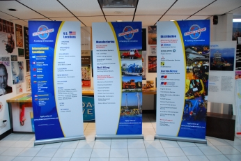 banner stands with graphics
